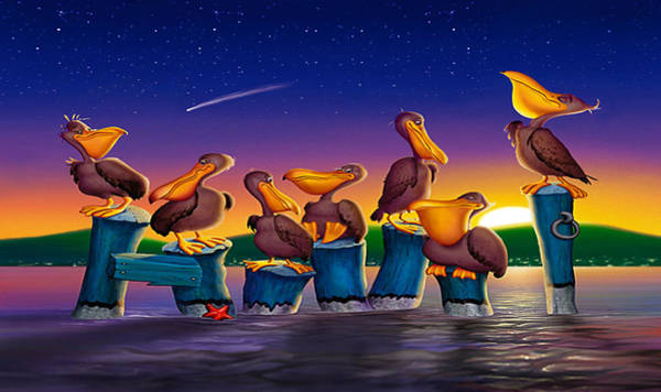 Harbor Scene Digital Art - Iphone Case - Pelican Sunset Cartoon Tropical Birds Florida Seascape by Walt Curlee