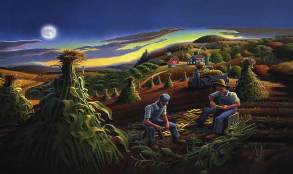 Husk Painting - Iphone Case - Shucking Corn Til Sunset - Folk Art Farm Landscape - Americana by Walt Curlee