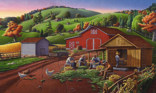 Husk Painting - Iphone Case - Farm Folk Art - Shucking Corn And Storing In The Corn Crib - Rural Americana by Walt Curlee