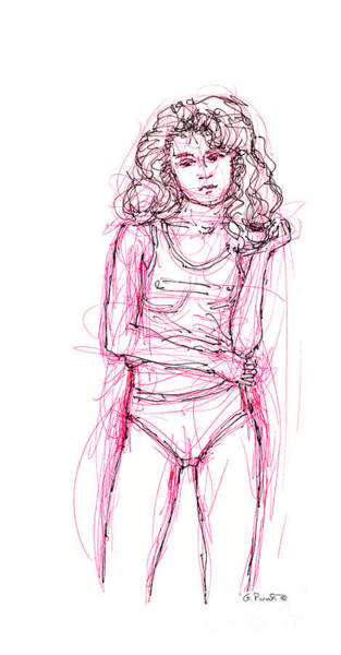 Drawing - iPhone-Case-FemaleNude-1 by Gordon Punt
