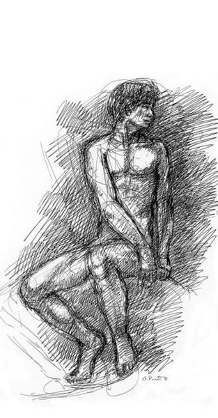 Drawing - iPhone-Case-Nude-Male1 by Gordon Punt
