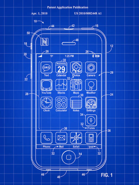 Wall Art - Digital Art - iPhone Patent - Blue by Stephen Younts