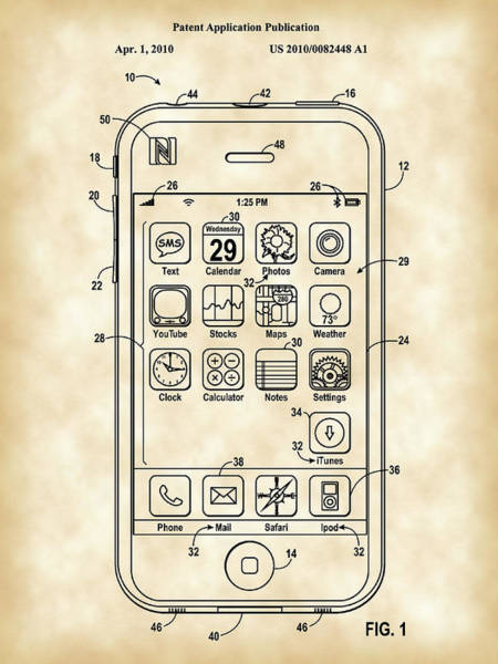 Wall Art - Digital Art - iPhone Patent - Vintage by Stephen Younts