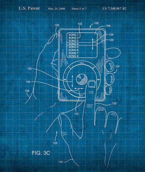 Patent Mixed Media - iPod Vintage Patent Blueprint by Design Turnpike