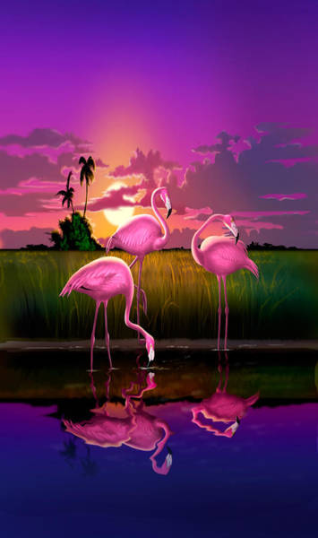 East Africa Digital Art - iPhone Case - Flamingoes Flamingos Tropical Sunset landscape florida everglades hot pink purple by Walt Curlee