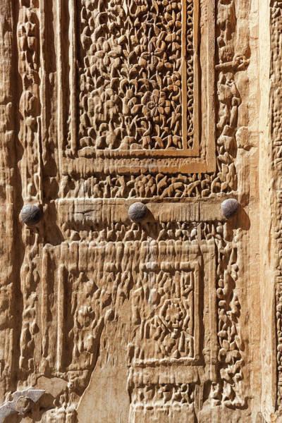 Wall Art - Photograph - Iran, Natanz, Jameh Mosque, Old Door by Walter Bibikow