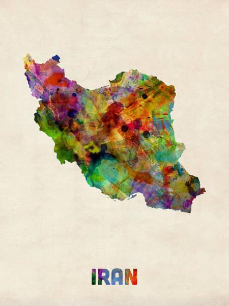 Iran Wall Art - Digital Art - Iran Watercolor Map by Michael Tompsett