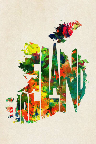 Wall Art - Painting - Ireland Typographic Watercolor Map by Inspirowl Design