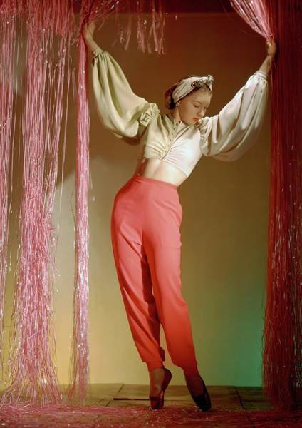 Lounging Photograph - Irina Baronova Under Curtains by Horst P. Horst