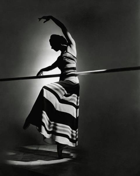 Silhouette Photograph - Irina Baronova Wearing A Stripes by Horst P. Horst