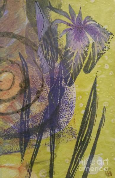 Monotype Mixed Media - Iris And Spiral by Cynthia Lagoudakis