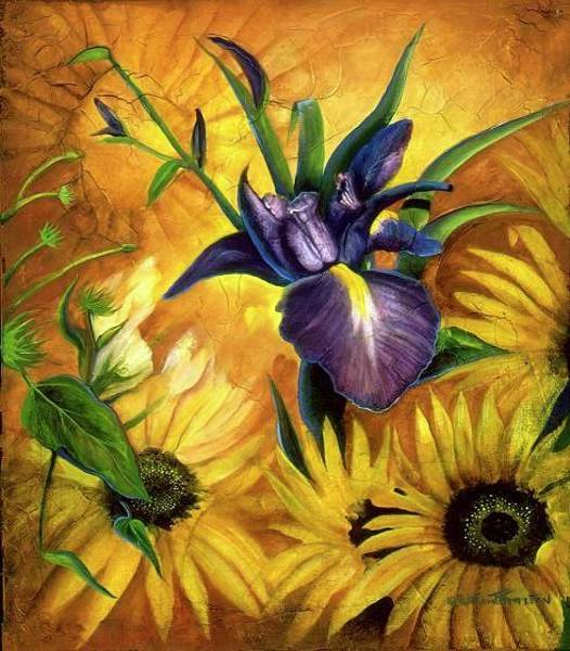 Painting - Iris And Sunflower by William T Templeton