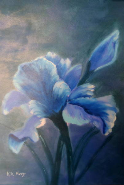 Meadowlands Painting - Iris Blue by Kay Novy