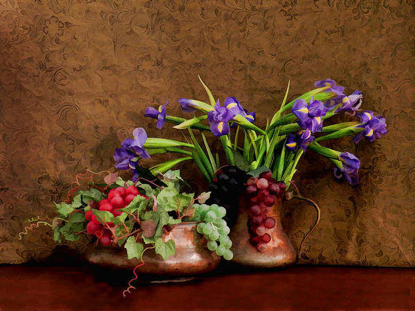 Digital Art - Irises And Grapes by Grace Dillon