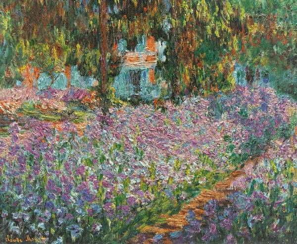 Wall Art - Painting - Irises In Monets Garden Upszd by L Brown