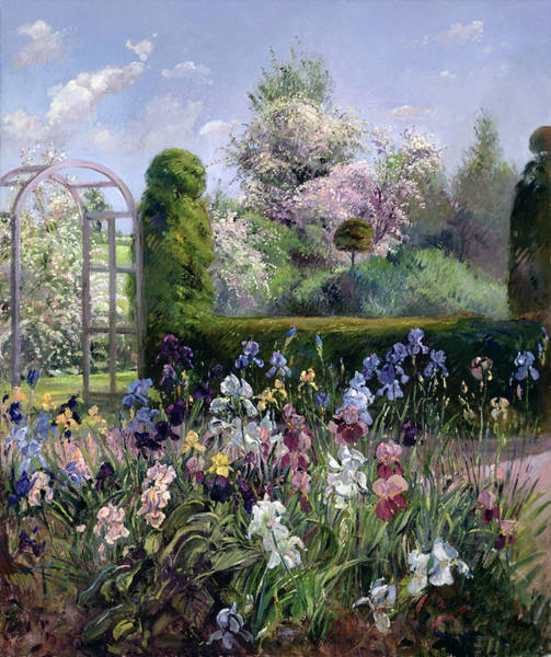 Blooming Tree Painting - Irises In The Formal Gardens, 1993 by Timothy Easton
