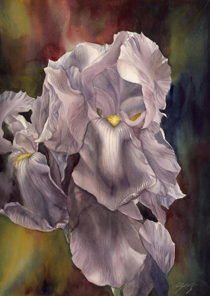 Painting - Irises With Red And Blue by Alfred Ng