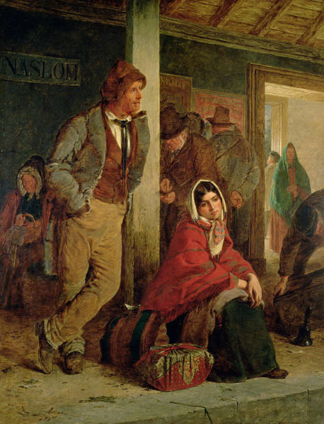 Irish Emigrants Waiting For A Train Art Print