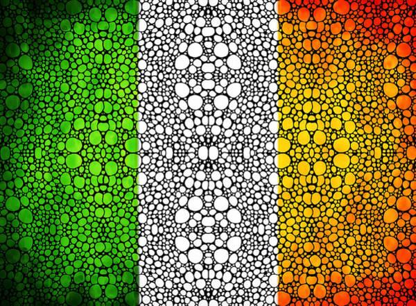 Painting - Irish Flag - Ireland Stone Rock'd Art By Sharon Cummings by Sharon Cummings