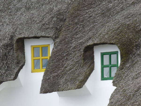 Dunmore East Photograph - Irish Thatch Cottage Colored Windows by Patrick Dinneen