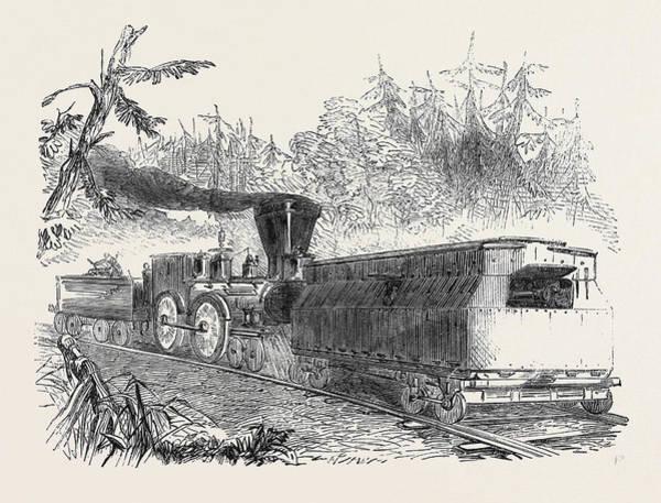 American Car Drawing - Iron Car Battery On The Philadelphia Railway 1861 Railroad by English School