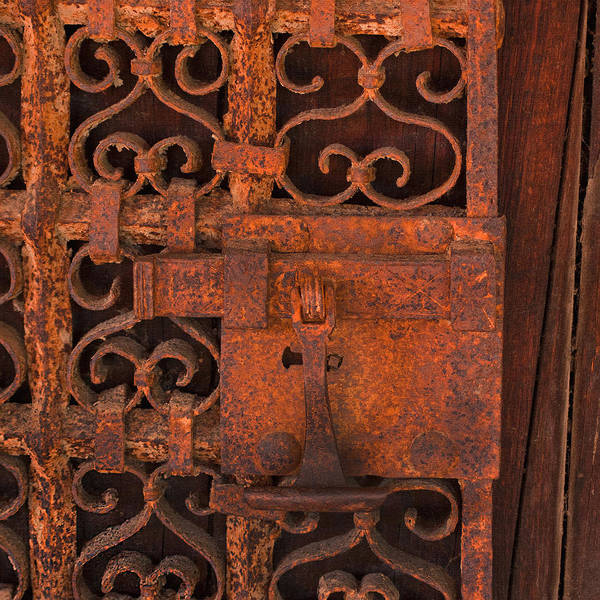 Carmel Mission Photograph - Iron Door by Art Block Collections