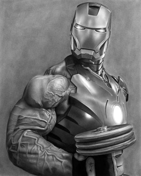 Iron Drawing - Iron Man Workout Drawing by John Harding