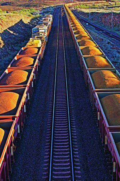 Vertical Perspective Photograph - Iron Ore Train, Karratha. Western by John W Banagan