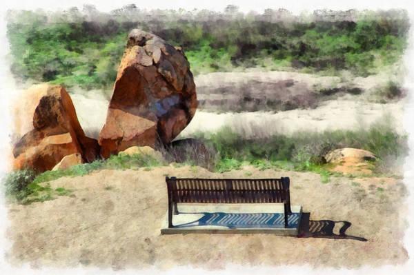 Park Bench Mixed Media - Iron Strip Bench At Riverbed by Viktor Savchenko