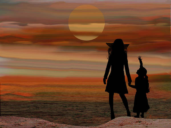 Digital Art - Is Daddy In Heaven Now - Featured In Contours And Silhouettes - Cards For All Occ -nature Wildlife by Ericamaxine Price