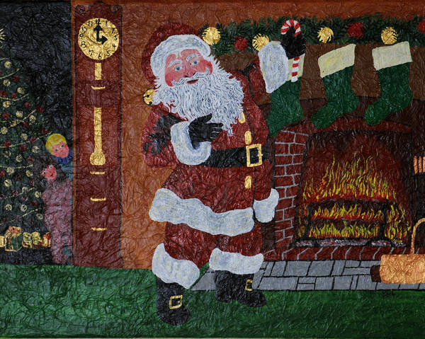 Grandfather Clock Painting - Is Santa Here Yet? by BJ Hilton Hitchcock