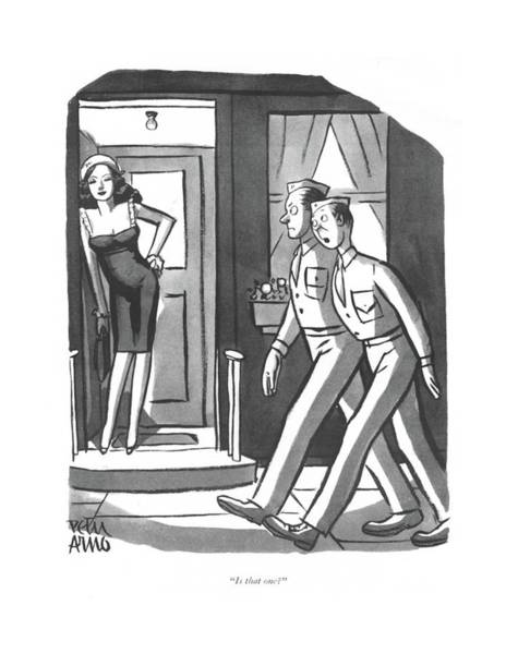 Drawing - Is That One? by Peter Arno