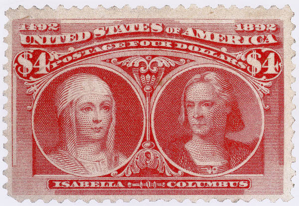 Stamp Collecting Photograph - Isabella And Columbus, U.s. Postage by Science Source