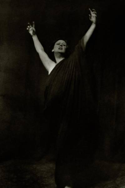 January 1st Photograph - Isadora Duncan Posing With Her Arms In The Air by Arnold Genthe