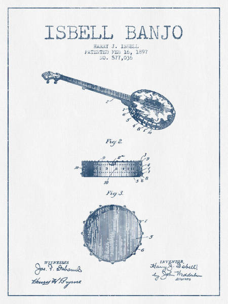 Country Living Digital Art - Isbell Banjo Patent Drawing From 1897  - Blue Ink by Aged Pixel