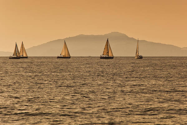 Ischia Island And Yachts Sailing On Bay Art Print
