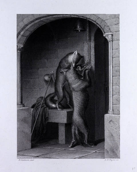 Reynard Wall Art - Drawing - Isegrim And The Bells by English School