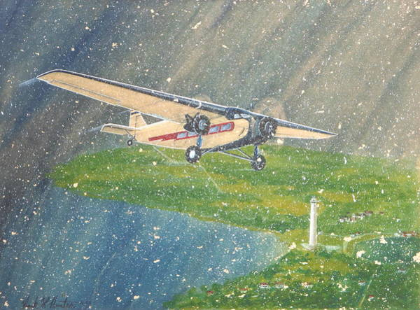 Island Airlines Ford Trimotor Over Put-in-bay In The Winter Art Print