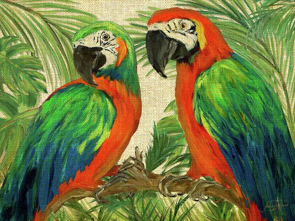Wall Art - Painting - Island Birds On Burlap by Julie Derice