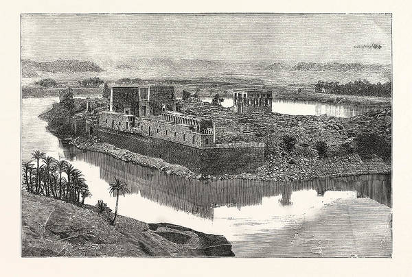 Wall Art - Drawing - Island Of Philae, Scene On The Nile, Egypt by Egyptian School