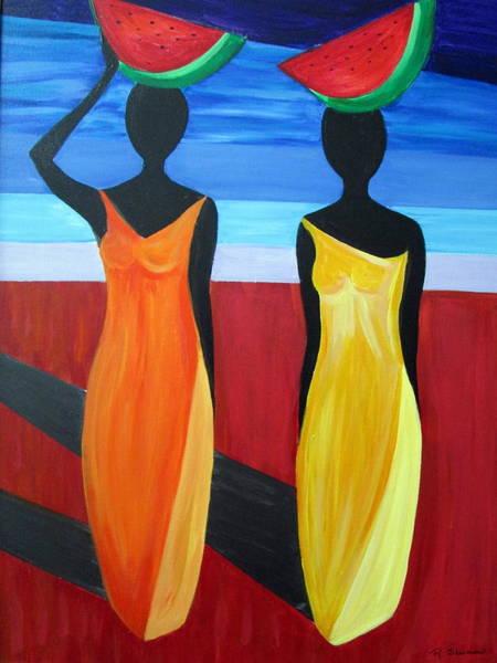Wall Art - Painting - Island Women by Rosie Sherman