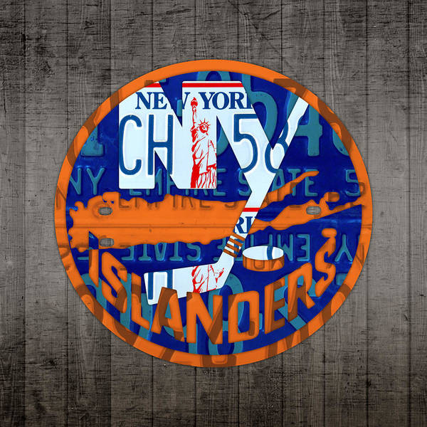 Island Mixed Media - Islanders Hockey Team Retro Logo Vintage Recycled New York License Plate Art by Design Turnpike