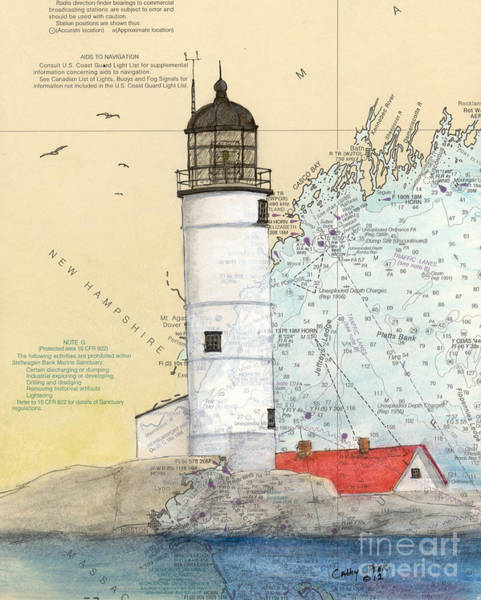 Wall Art - Painting - Isle Of Shoals Lighthouse Nh Cathy Peek Nautical Chart Map Art by Cathy Peek
