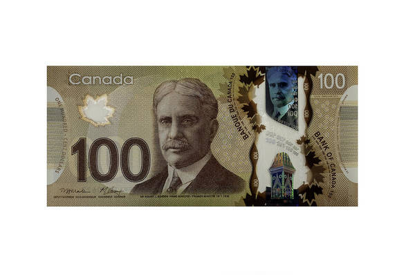 Legal Tender Photograph - Isolated 100 Canadian Dollar Banknote. by Fernando Barozza