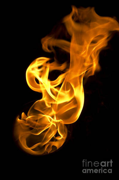 Flammable Wall Art - Photograph - Isolated Fire Flames On Black Background-darkness by Tuimages