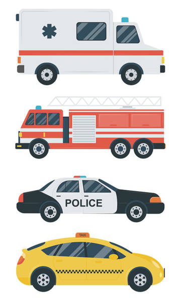 Truck Digital Art - Isolated Transport Icons. Police Car by Switchpipipi