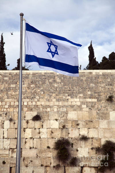 In God We Trust Photograph - Israel Flag And The Wailing Wall by Eldad Carin