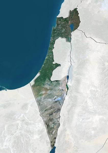 Landsat 7 Wall Art - Photograph - Israel by Planetobserver/science Photo Library