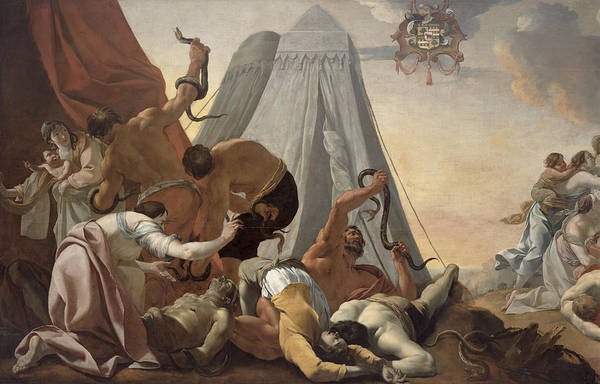 Serpent Photograph - Israelites Afflicted With The Brazen Serpent Oil On Canvas by Simon Vouet