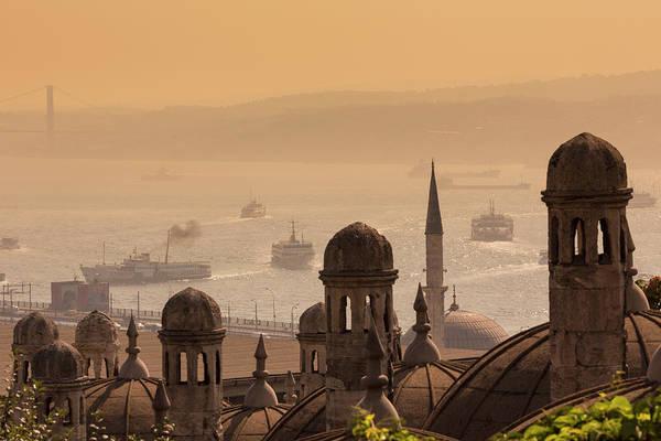 Suleymaniye Mosque Photograph - Istanbul, Turkey.  Golden Horn by Ken Welsh